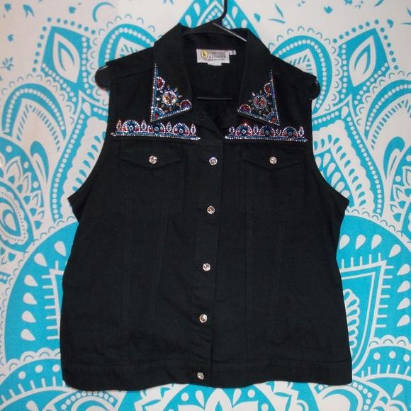 Vintage Jackets & Blazers - Vintage Black Jean Vest Gem Studded Punk Large L